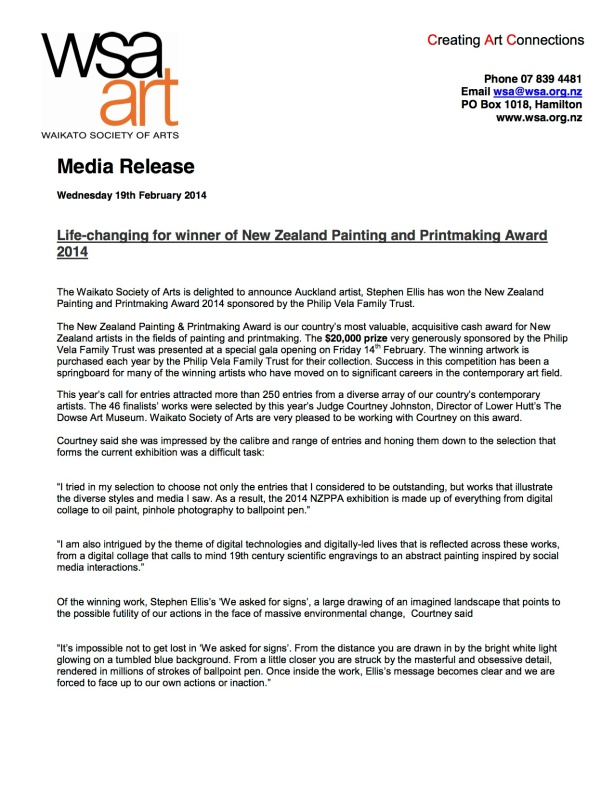 NZ Painting and Printmaking Award 2014 Press Release